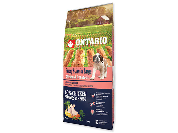ONTARIO Puppy & Junior Large Chicken & Potatoes & Herbs 12kg