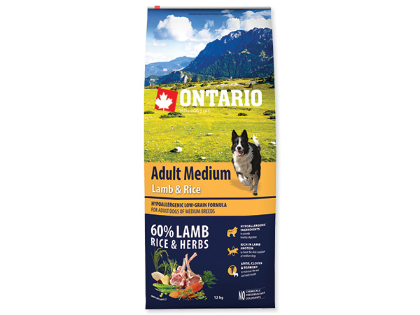 ONTARIO Dog Adult Medium Lamb & Rice 12kg