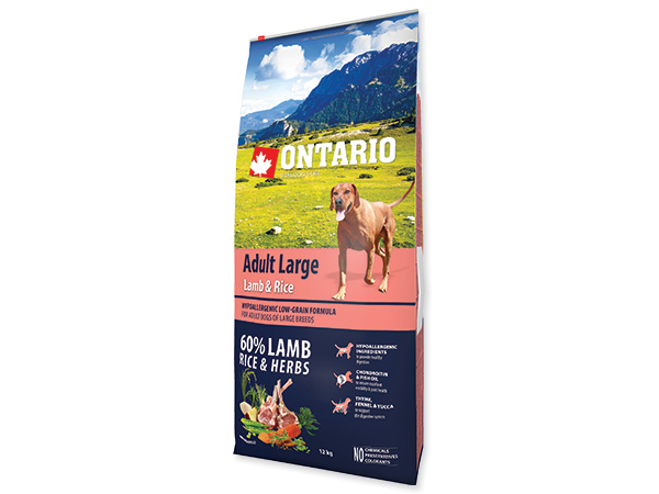 ONTARIO Dog Adult Large Lamb & Rice & Turkey 12 kg